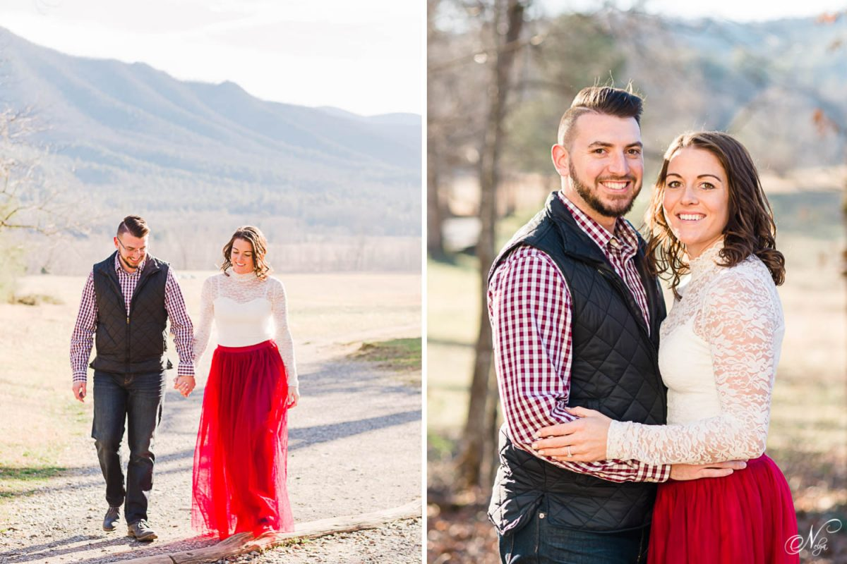 two people outside in TN in january walking with mountains of in the background. And close up of engaged couple smiling.