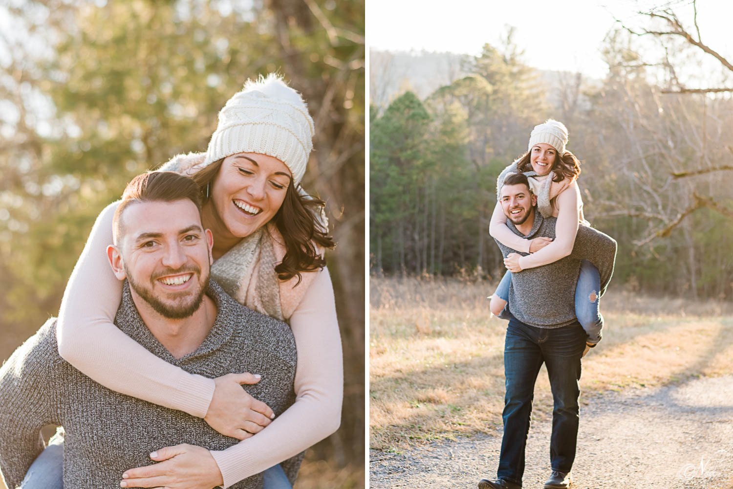 prewedding shoot outside with a guy and girlwearing cute winter sweaters and jeans.