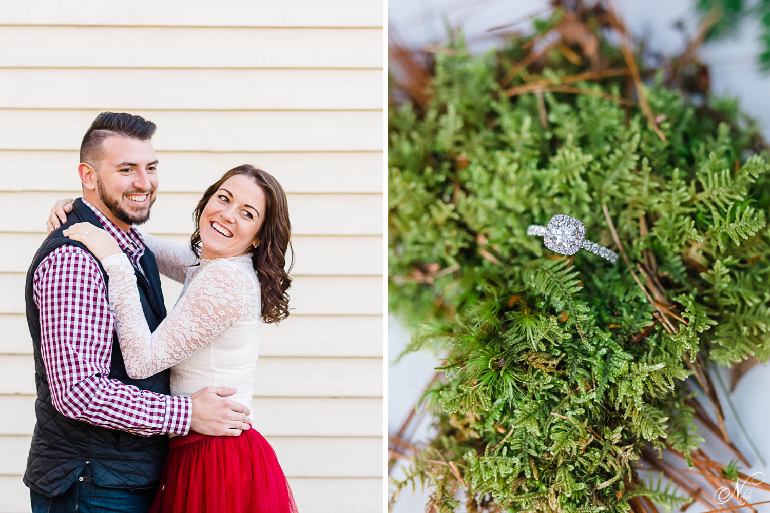 girl in white lace shirt laughing over her shoulder with her fiance hugging her. And close up photo of an engagement ring on bright green moss.