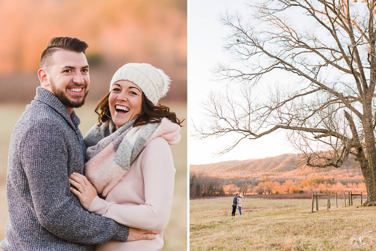 smiling couple with orange sunset glow behind them in East Tennessee