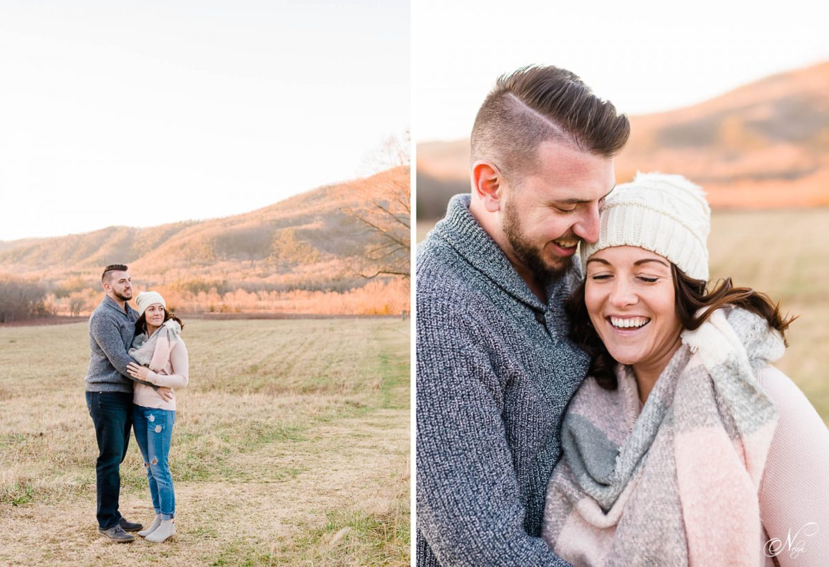two people outside in the winter getting engagement photos in the mountains at sunset