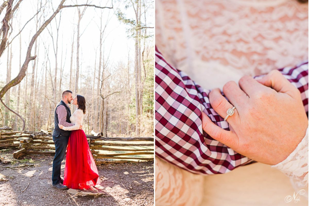 couple outside getting prewedding photos wearing long red tulle skirt and white lace top in TN. and Engagement ring on girls hand with white lace in the background