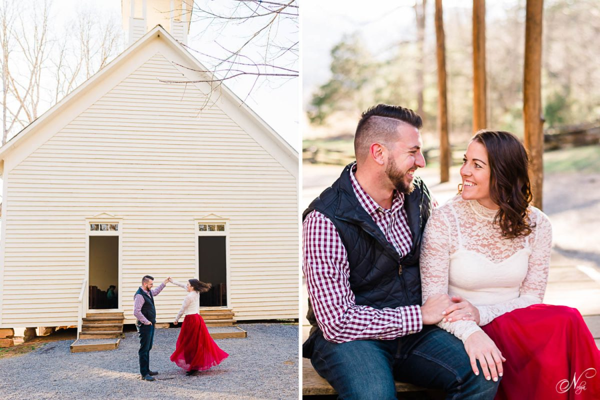 couple danding outside in front of historic church in TN. And photo of couple sitting next to eachother laughing and talking.