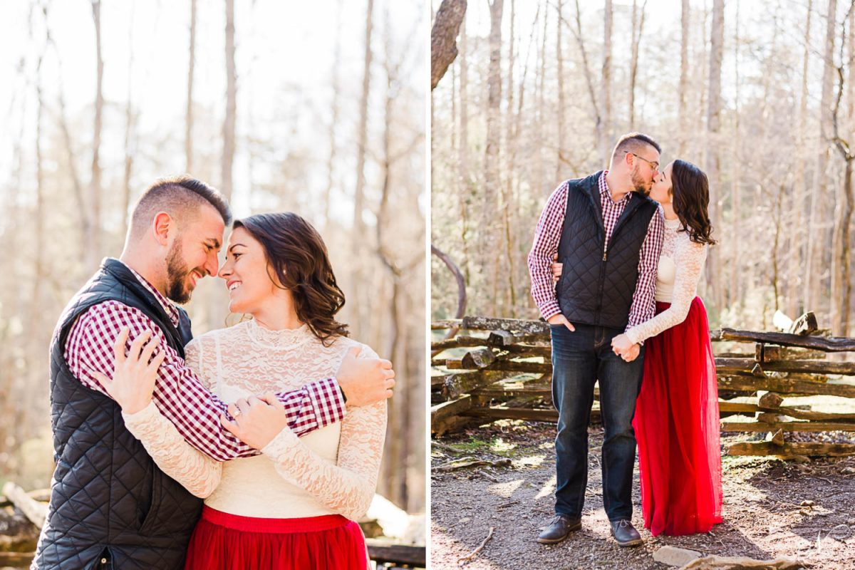 what to wear to an engagement photo session example: white lace top and red tulle long skirt for her. And plaid shirt in navy, red and white with a navy vest for him.