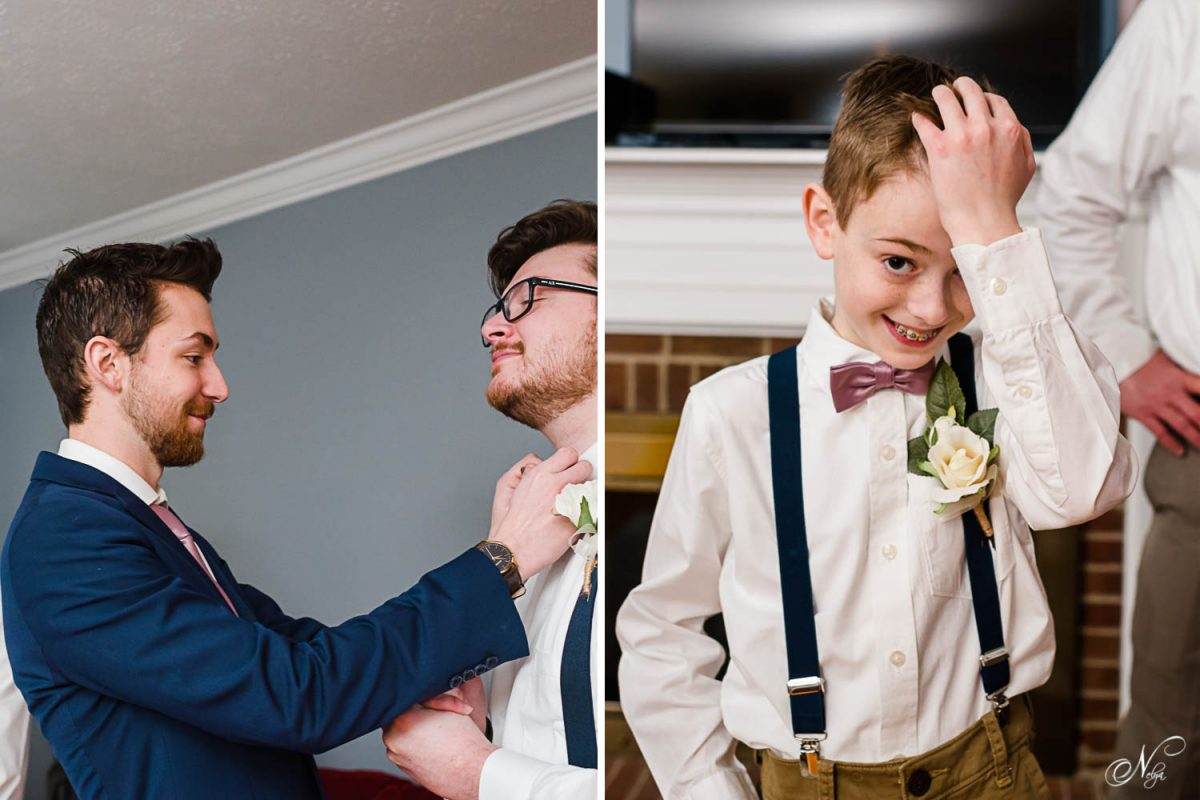 guy adjusting his friend's bowtie.. and a young groomsman in navy suspenders and white button shirt