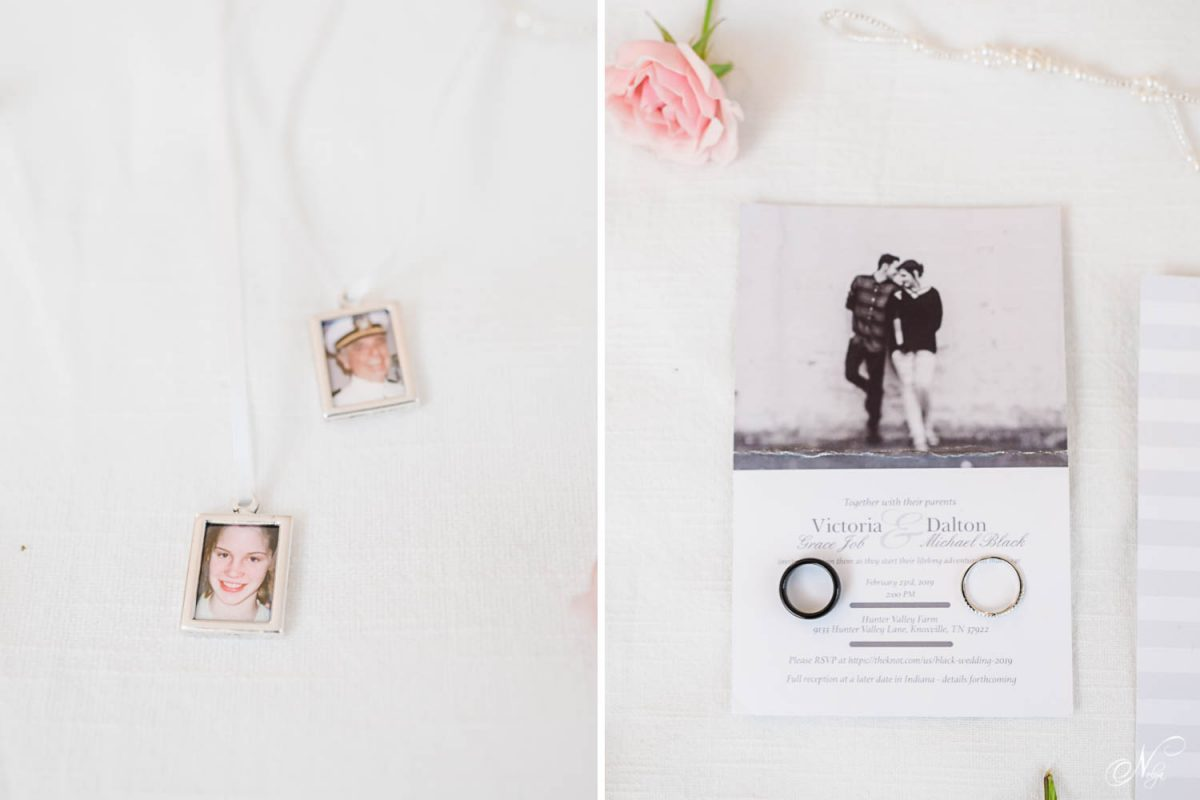 little photos in mii frams. and wedding rins on top of a wedding invitation.