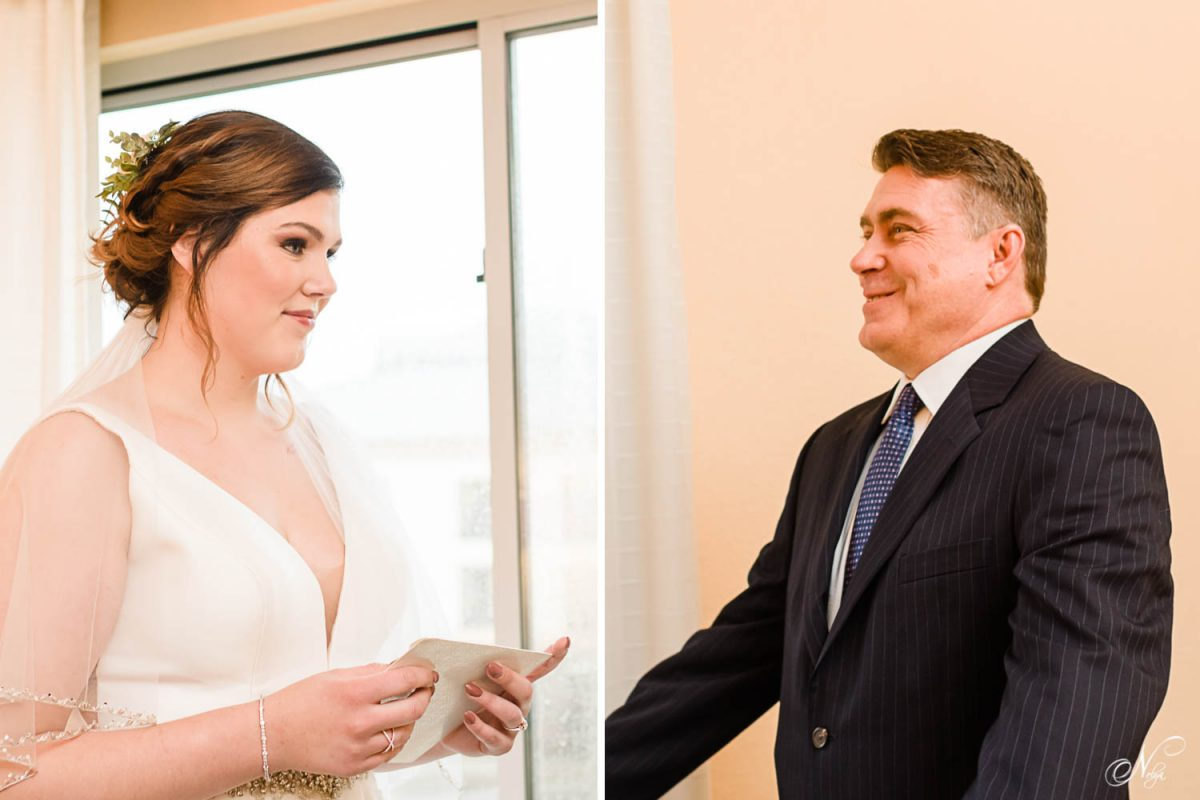 bride and dad seeing daughter in her dress for the first time on the wedding day.