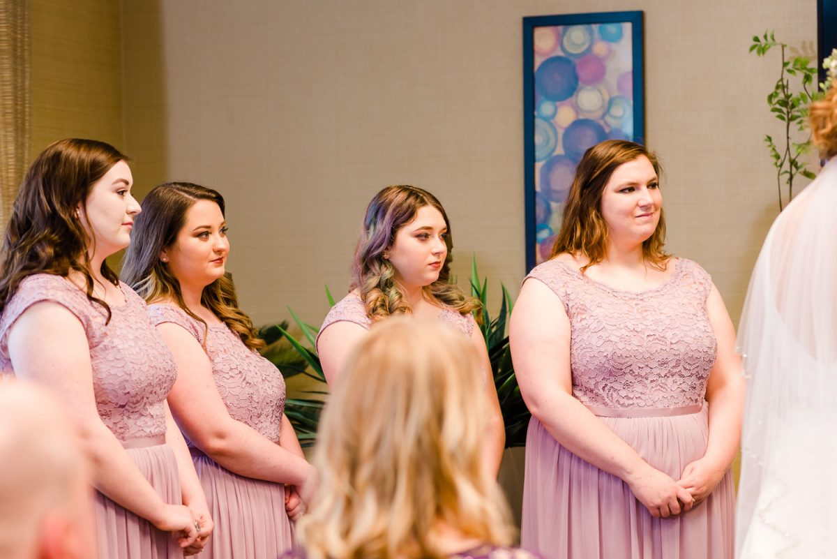 bridesmaids inside at hotel wedding