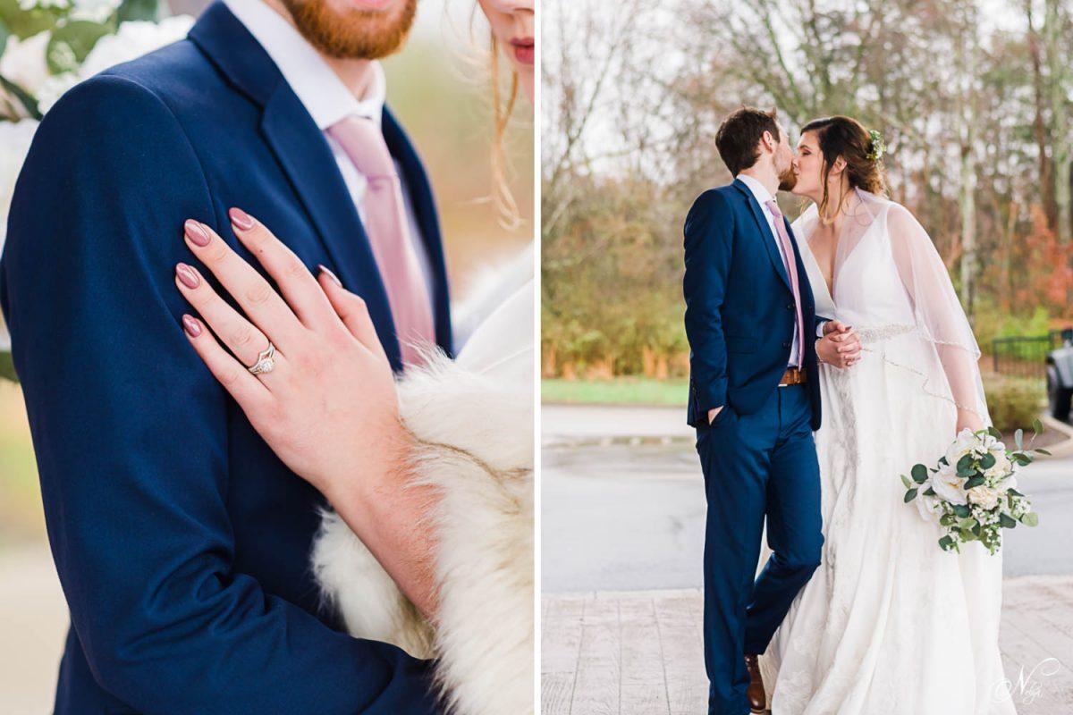 rainy february wedding portraits of bride and groom at hotel
