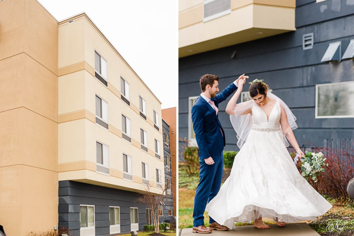 fairfiels inn exterior. and wedding couple dancing in front of the fairfield inn in knoxville