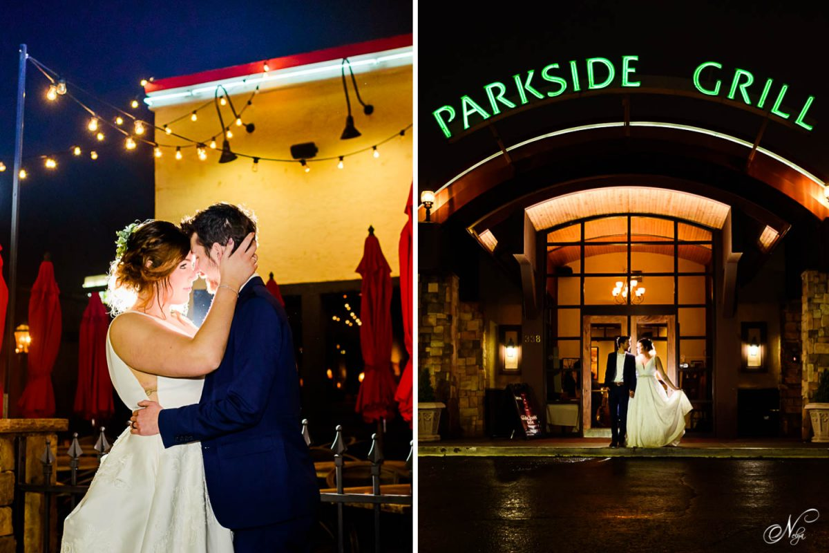wedding couple at night. and couple in front of Parkside grill restaurant in knoxville