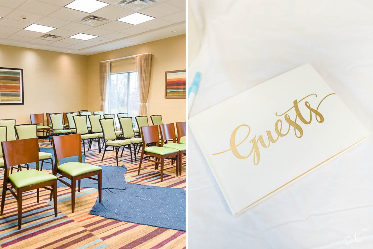 the confirence room at the Fairfield Inn in west Knoxville. and a book with gold lettering on it.