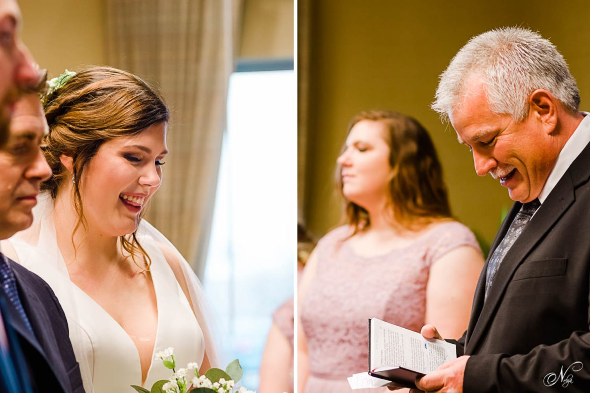 smiling faces during wedding ceremony. And officient reading from the bible.