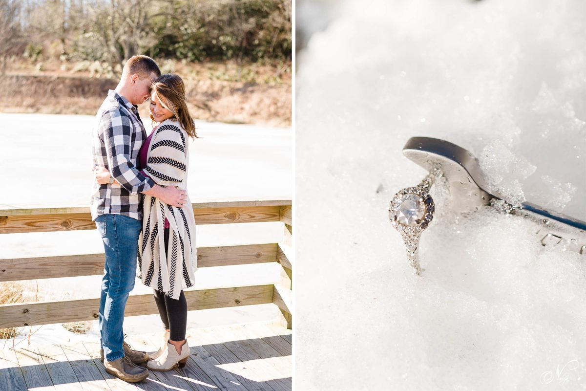 couple standing outside on a dock with snowy pond in the background. And an engagement ring and a 10mm wrench on snow.