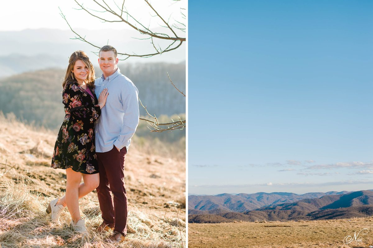 two people outside in the winter wearing a knee length black floral dress and the other wearing maroon pants and a light blue button down shirt. Also the mountain view from Max Patch NC