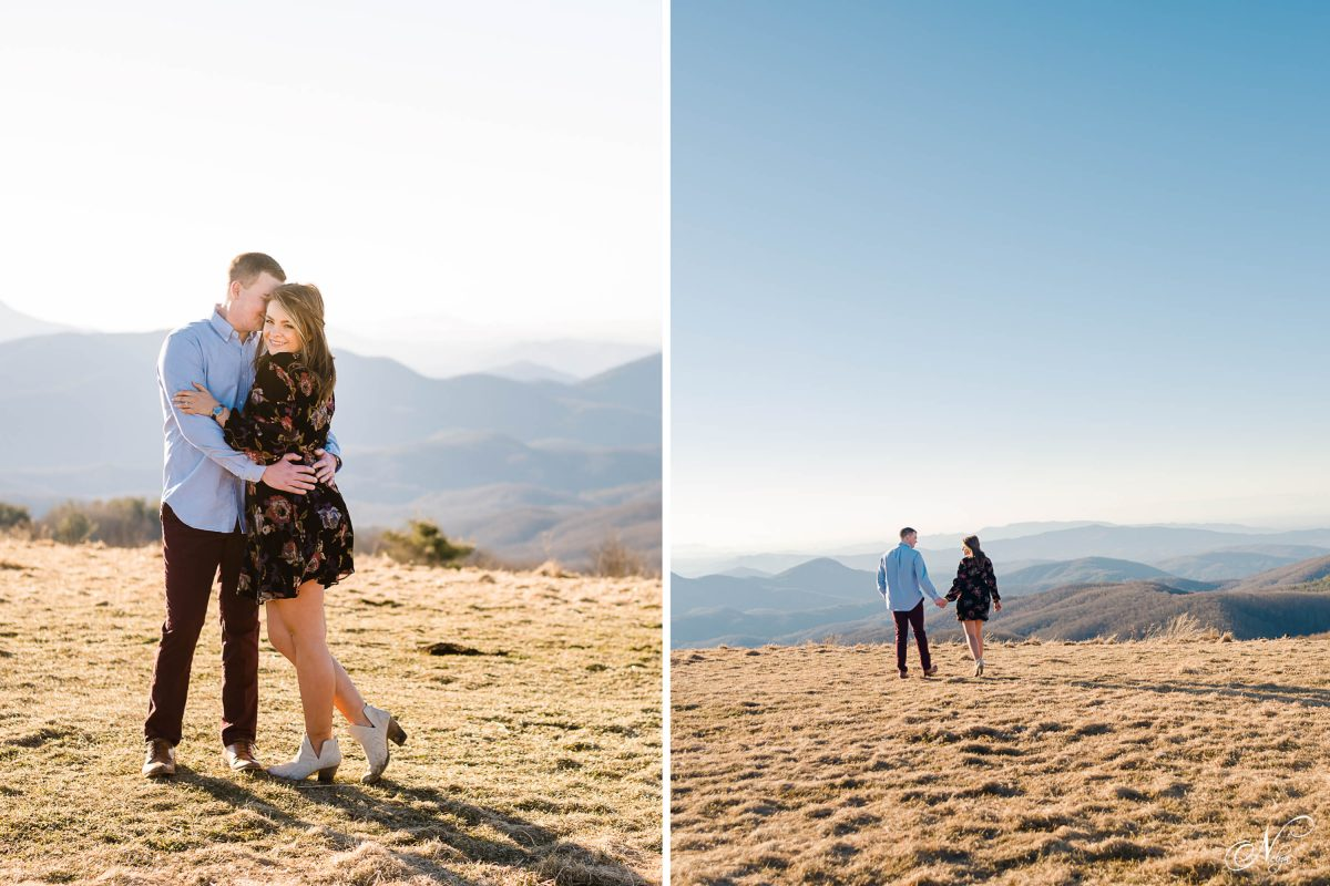 two people dressed up a little dressier than your ordinary hiker at Max Patch in the winter
