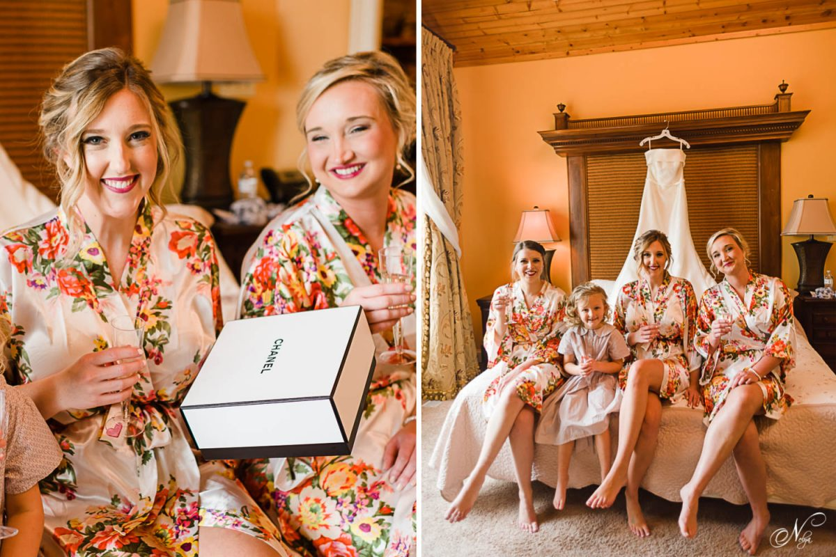 bride receiving a Chanel box as a gift on her wedding day. And bride and Bride's maids in floral robes sitting on a bed