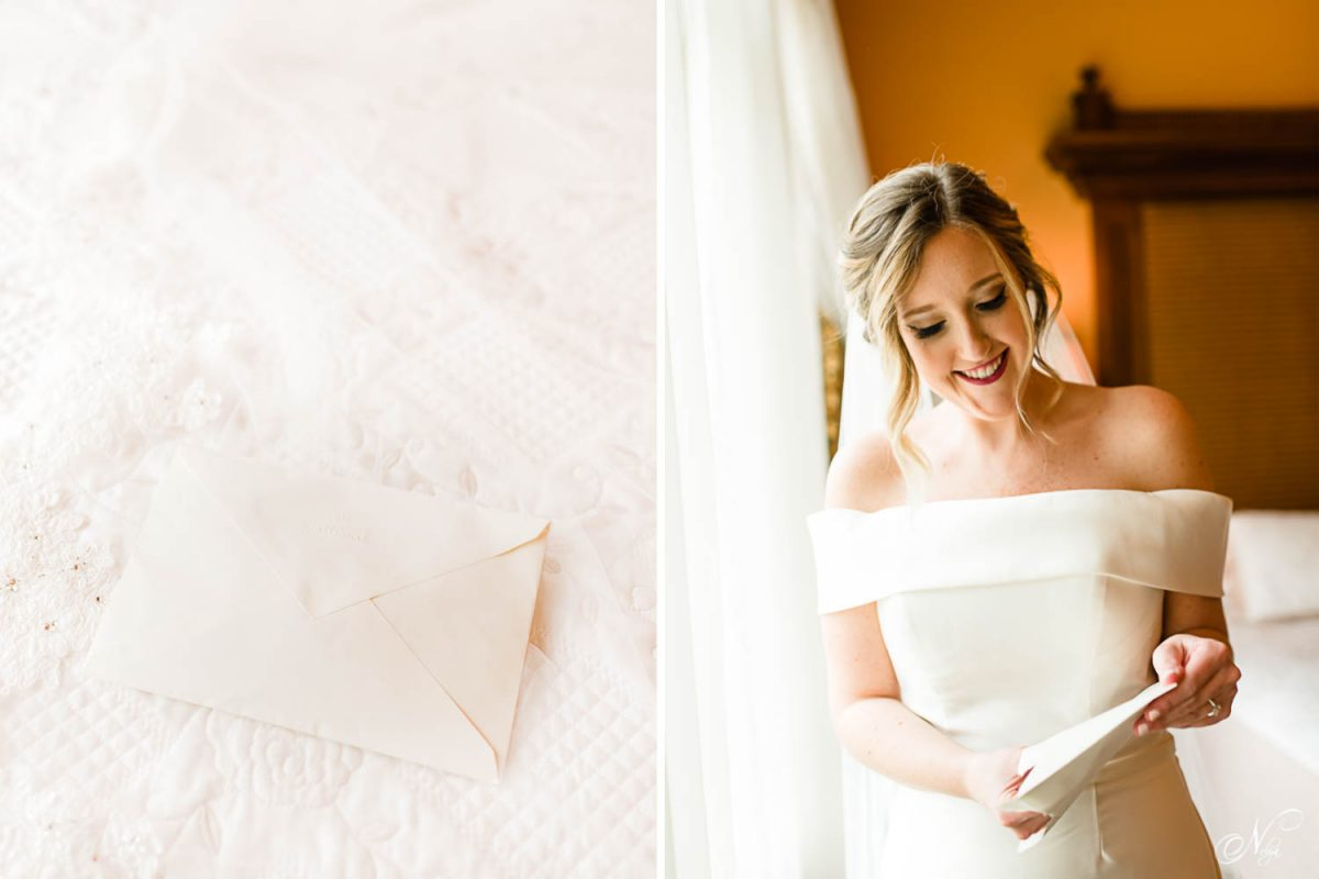 a white envelope with a card and gift inside it. And a bride reading a letterfrom her groom.