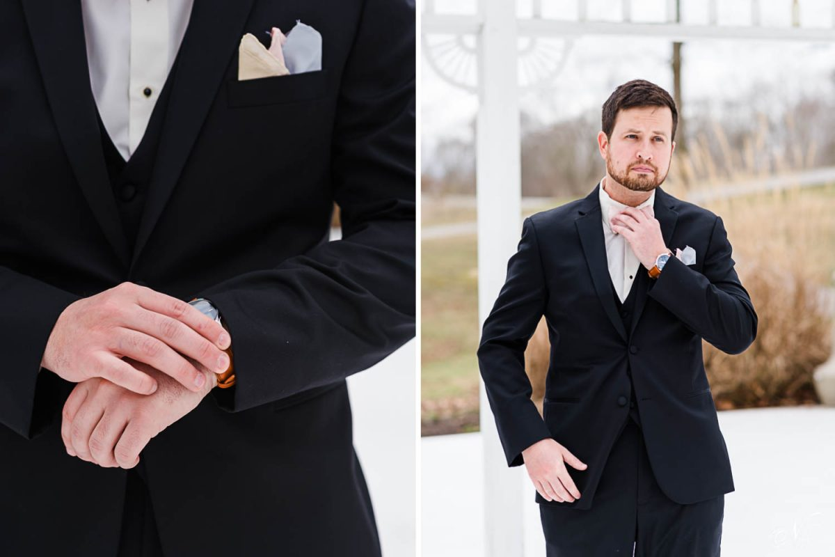 a maan's hands adjusting his watch on his wrist.. And a groom reaching up to straighten hiw bowtie.