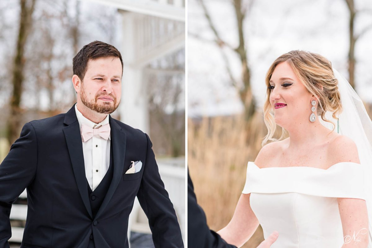 groom's reaction to seeing his bride for the first time. and bride's reaction to seeing her groom for the first time on their wedding day.