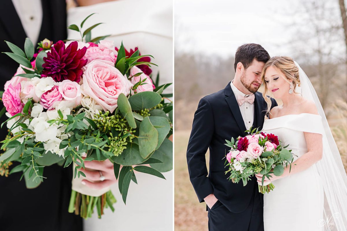 red and pink wedding bouquet made by lisa foster floral design. And wedding couple wearing off the shoulder white wedding dress and a black suit.