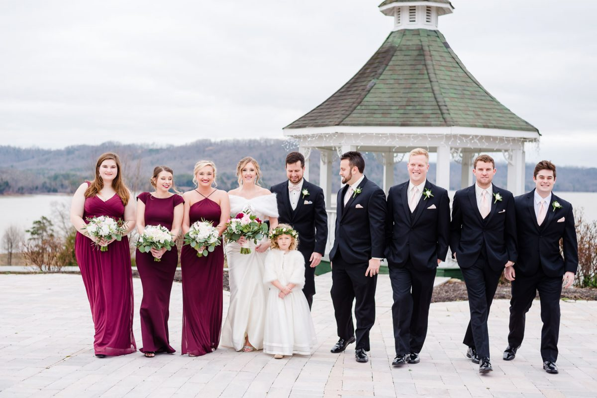 winter tennessee wedding at Whitestone Inn with bridal party on the heart shaped stone patio