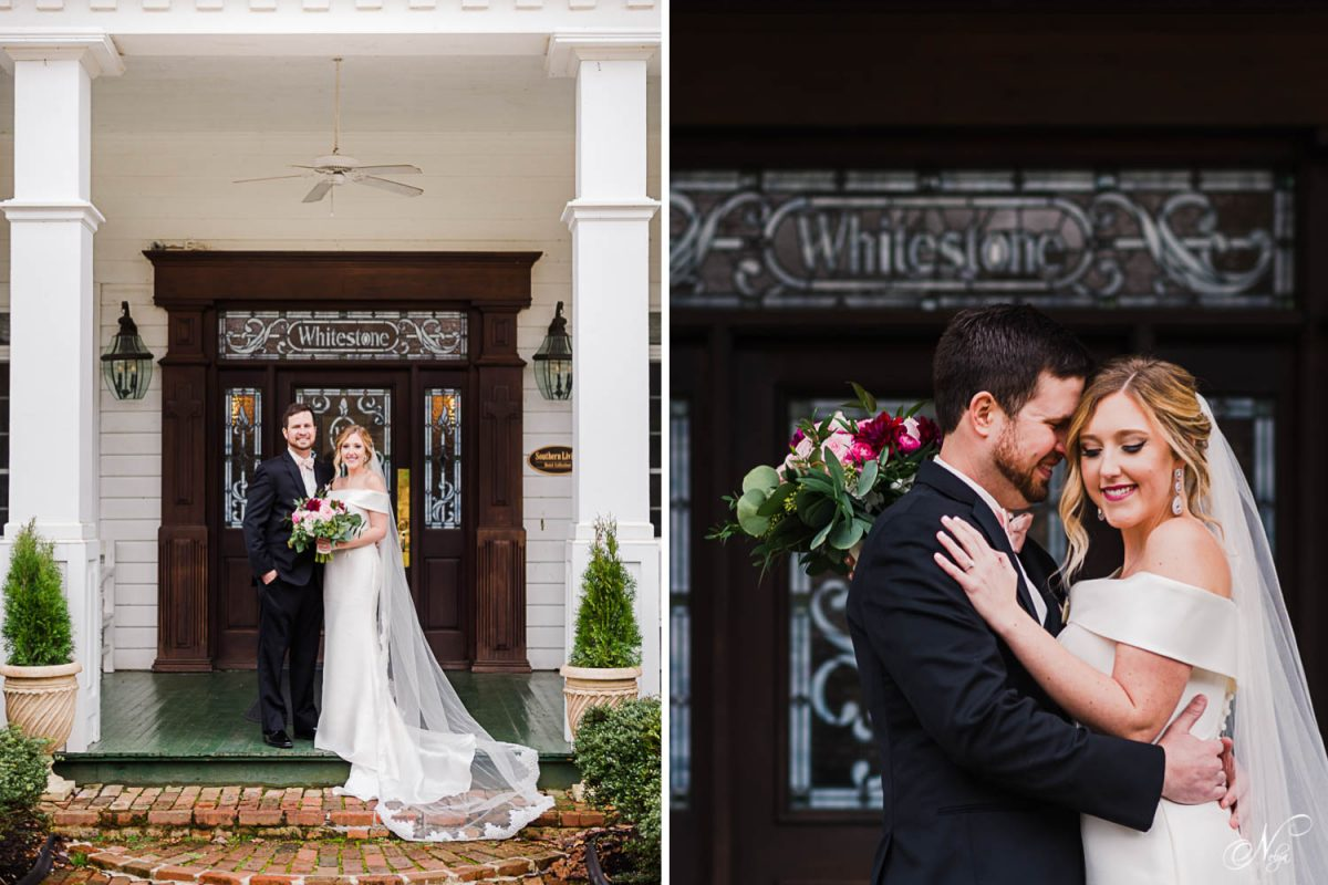 wedding couple on fron steps at Whitestone country Inn, a southern living manor.