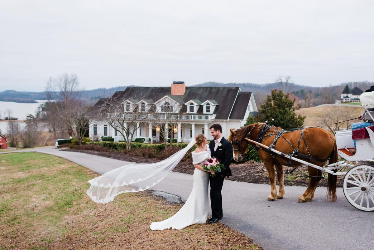 bride with cathedral length veil blowing in the wind and groom in a black suit at Whitestone inn with the horse and carriage.