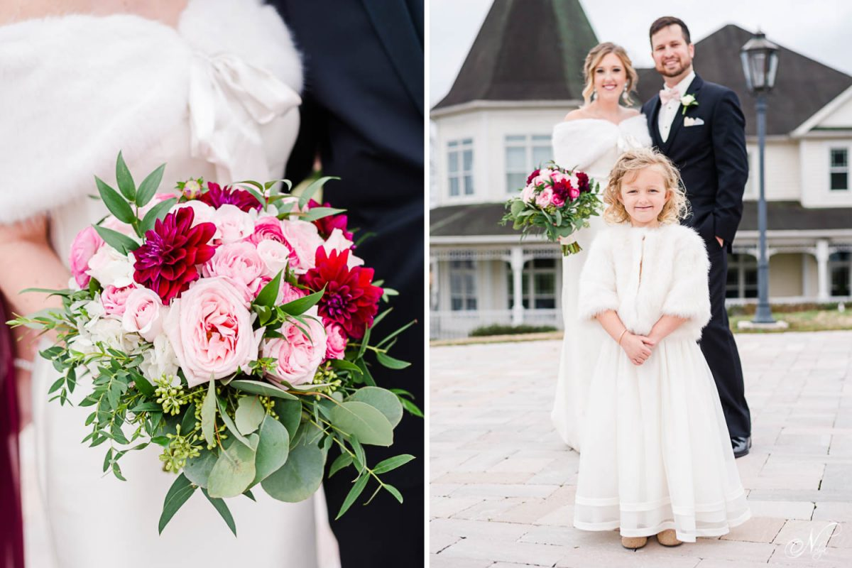 large red and pink rose bouquet. And smiling flower girl in front of wedding couple
