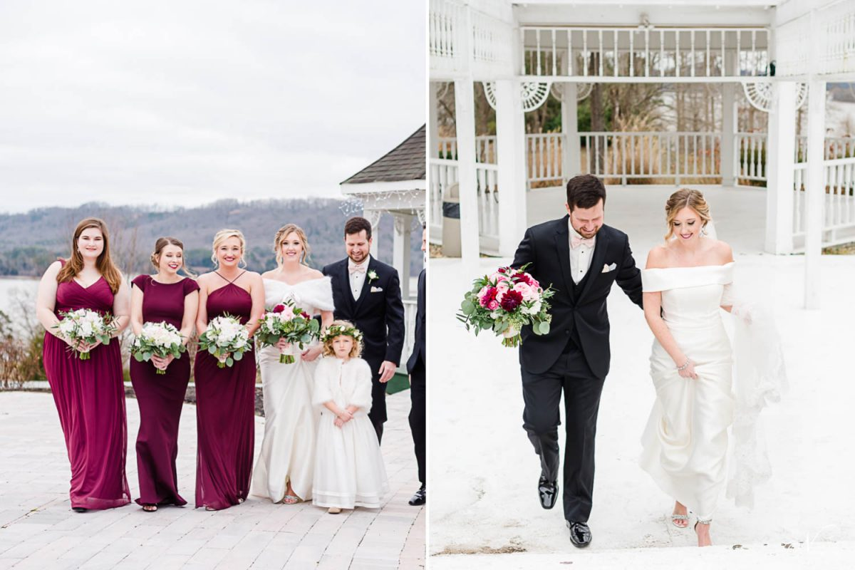 bridesmaids outside at February winter wedding in Kingston TN. And bride and groom walking up white stairs.