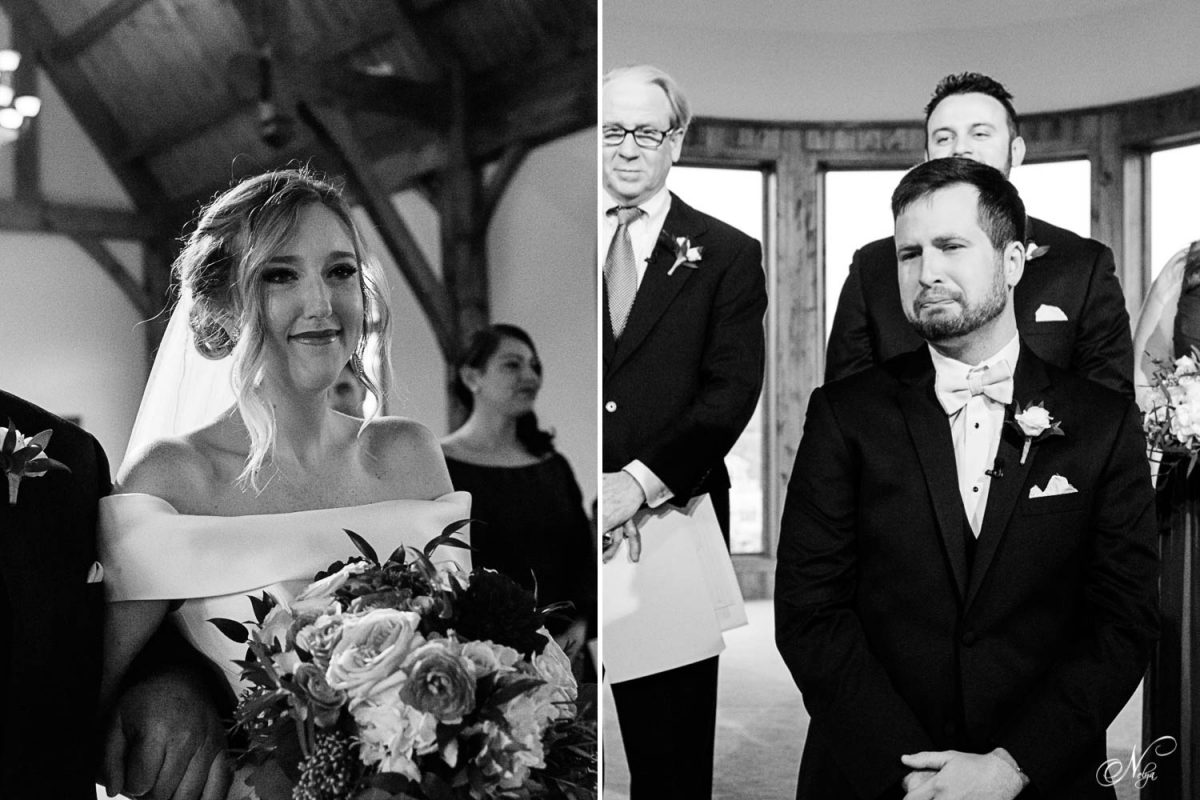 black and white photos of bride walking down the aisle seeing her groom. And groom looking at his bride walk up to him at the wedding ceremony.