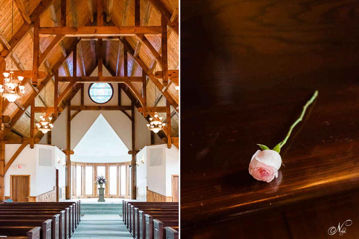 interior of Whitestone chapel. And a single rose on a church pew.