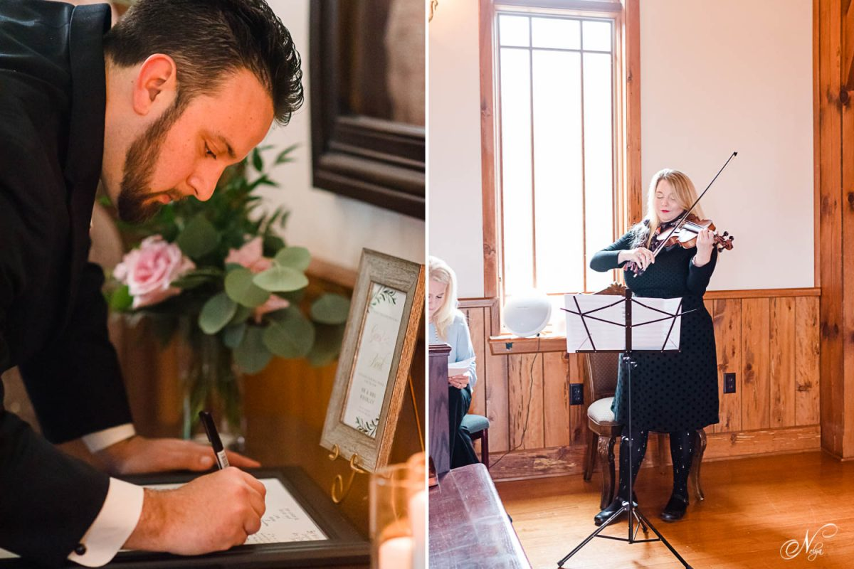 guest signing a guest book. And a violinist playing music for wedding ceremony.