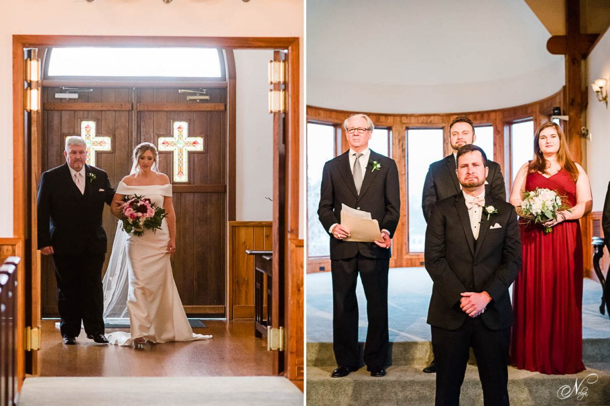 bride and her dad walking into the church at Whitestone inn. And groom seeing her walk in.