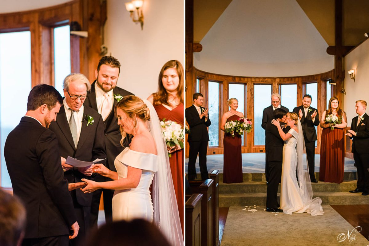 indoor church wedding ceremony at Whitestone inn's chapel.