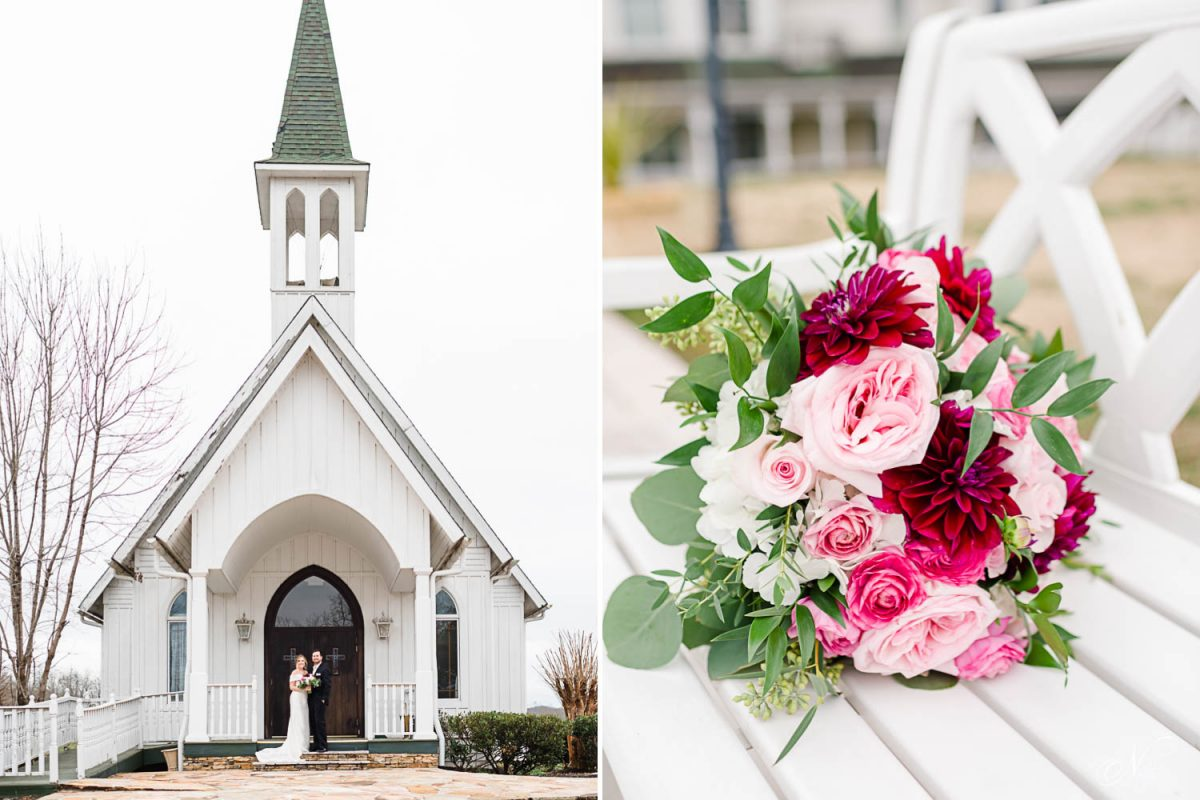 the white church at Whitestone inn, in Kingston TN. And bold shades of pink flowers.