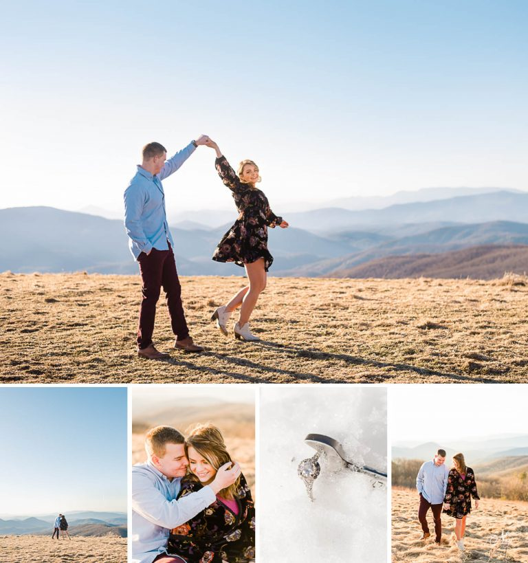 Max Patch winter engagement   Hot Springs NC