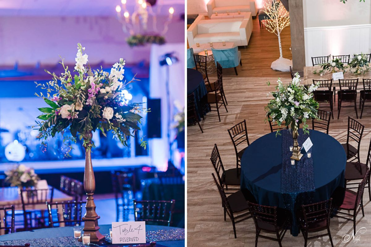 tall floral center piece from May Flowers in Chattanooga. And tables with fruitwood chairs and black table linens