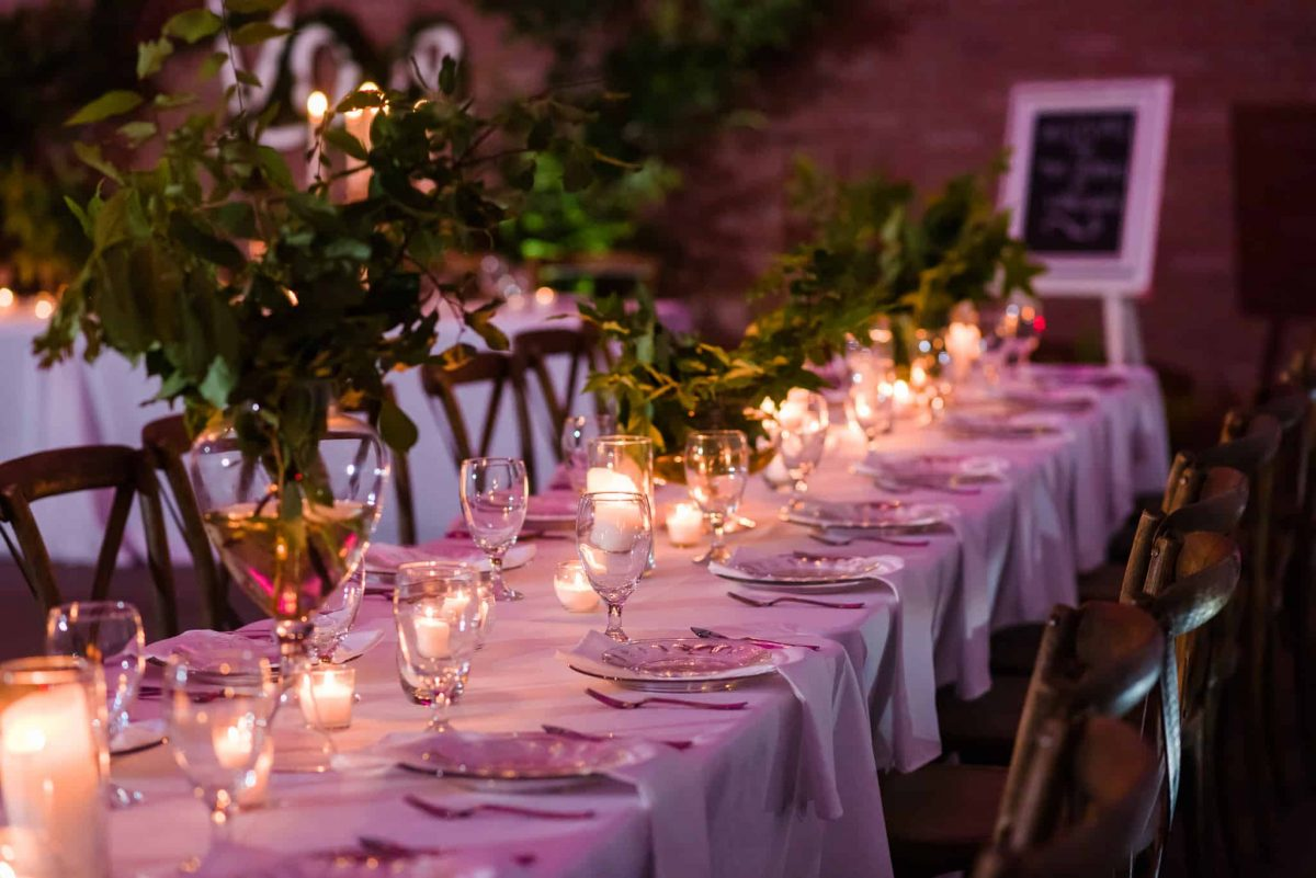 tables with tree branches for center pieces