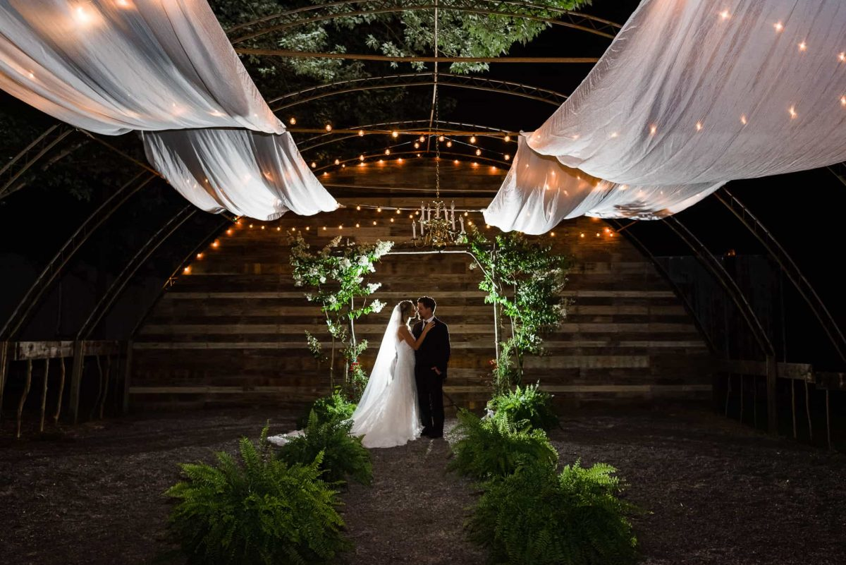 outdoor nighttime wedding ceremony