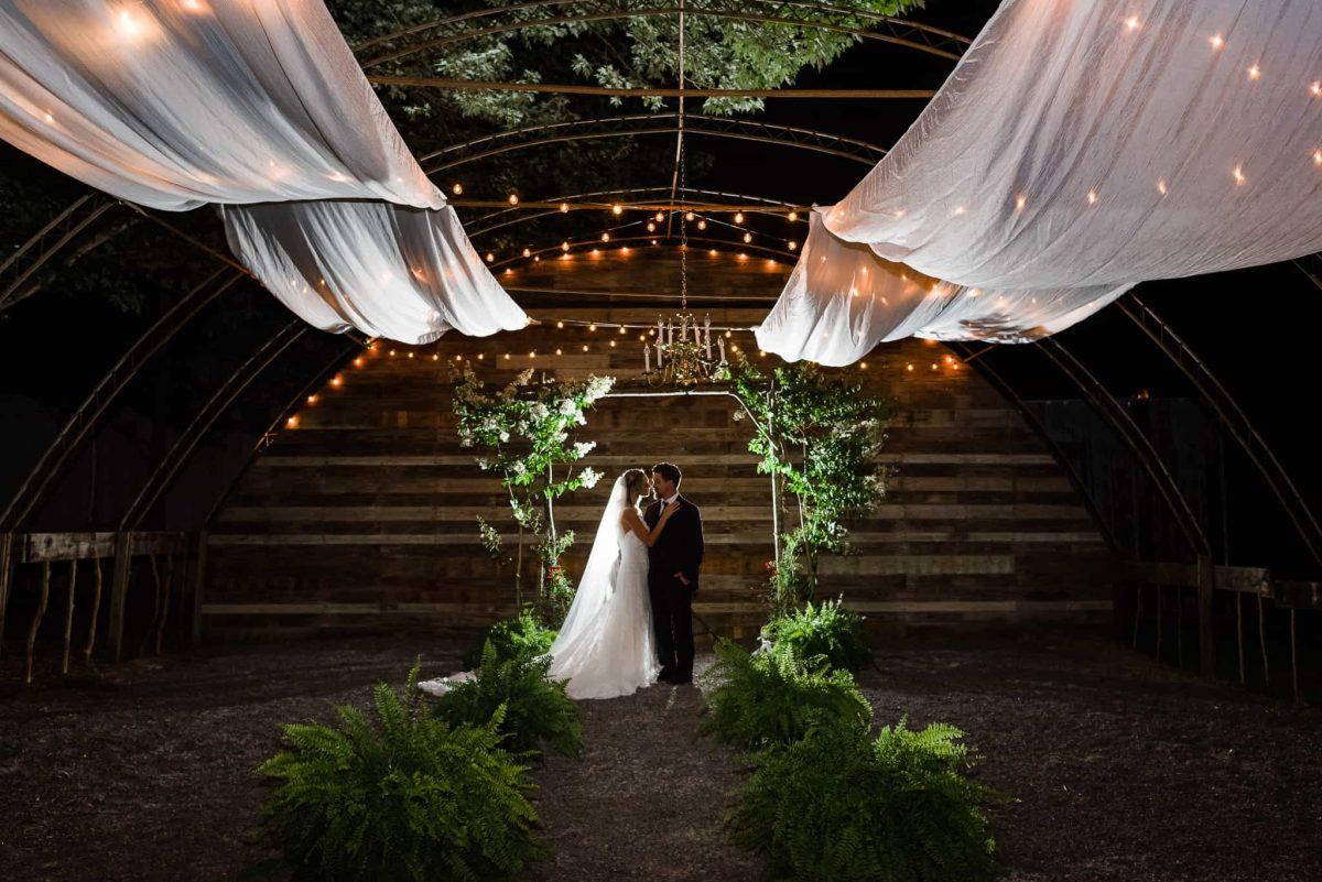 outdoor nighttime wedding ceremony