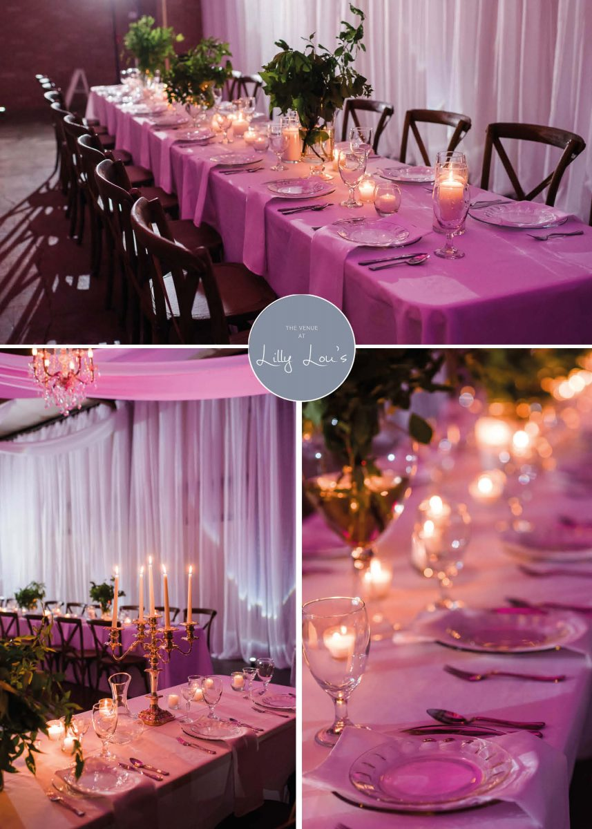 reception tables with tree branch greenery and purple lighting