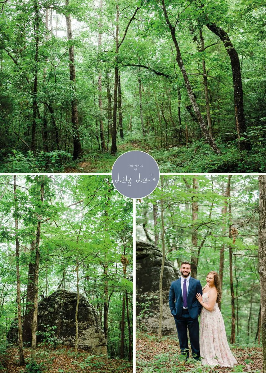 green trees andcouple in suite and floral dress outside