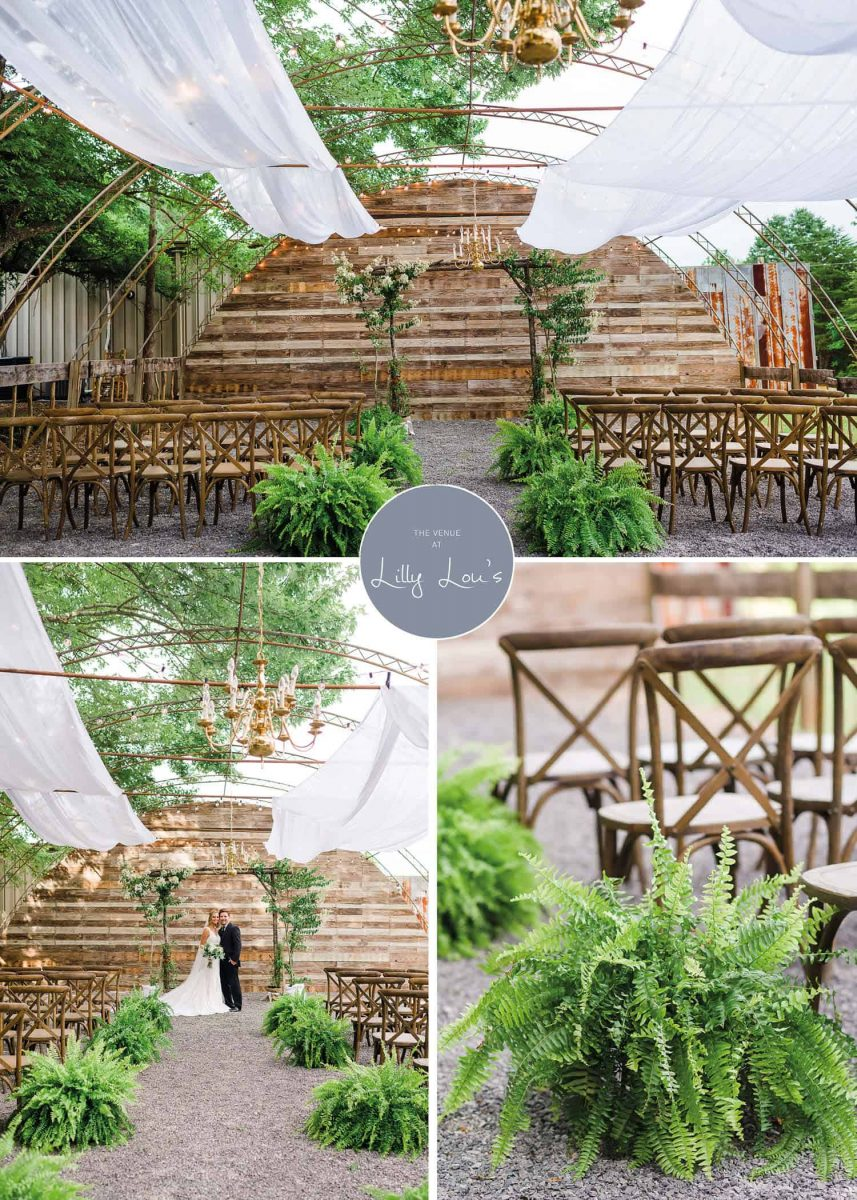 open air greenhouse wedding ceremony with ferns andcross backed chairs