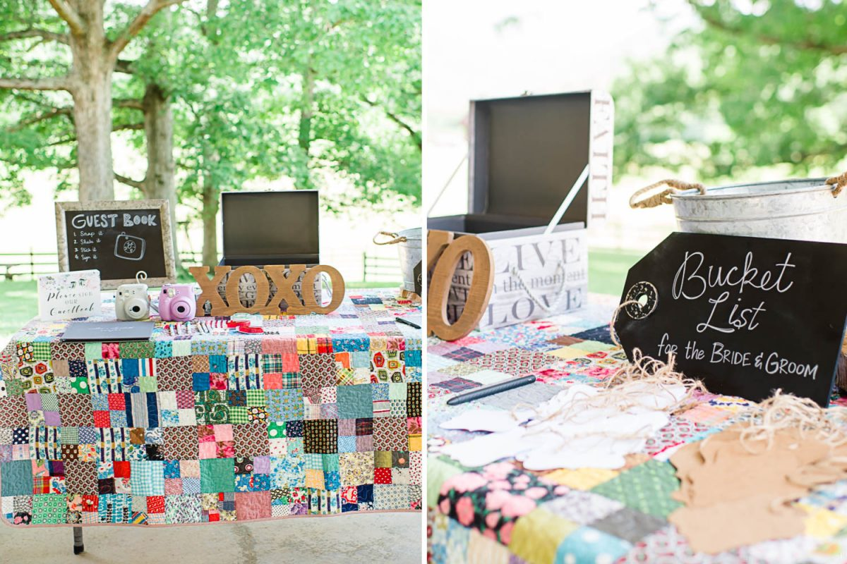 guest table decorated with a family quilt and diy details