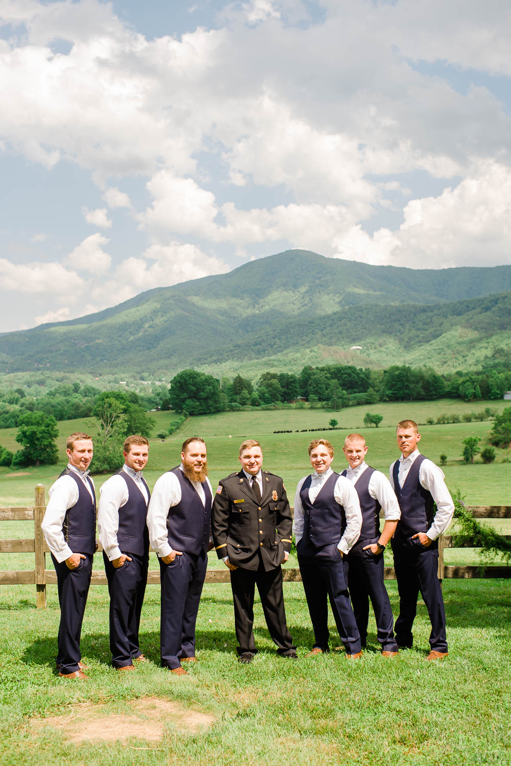 groomsmen outside in the smoky mountain backyard wedding