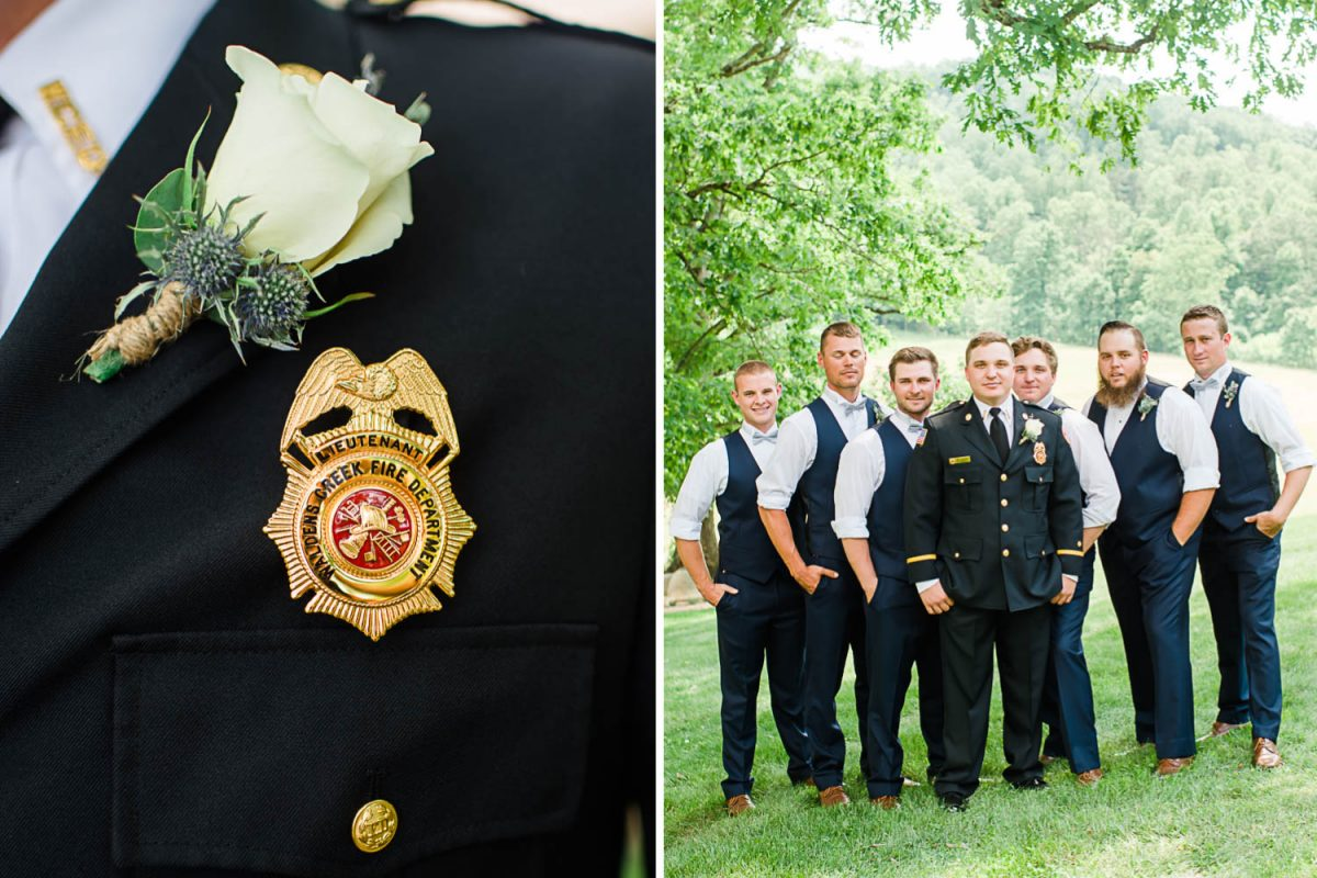 firefighter badge. and groom in fireman dress uniform