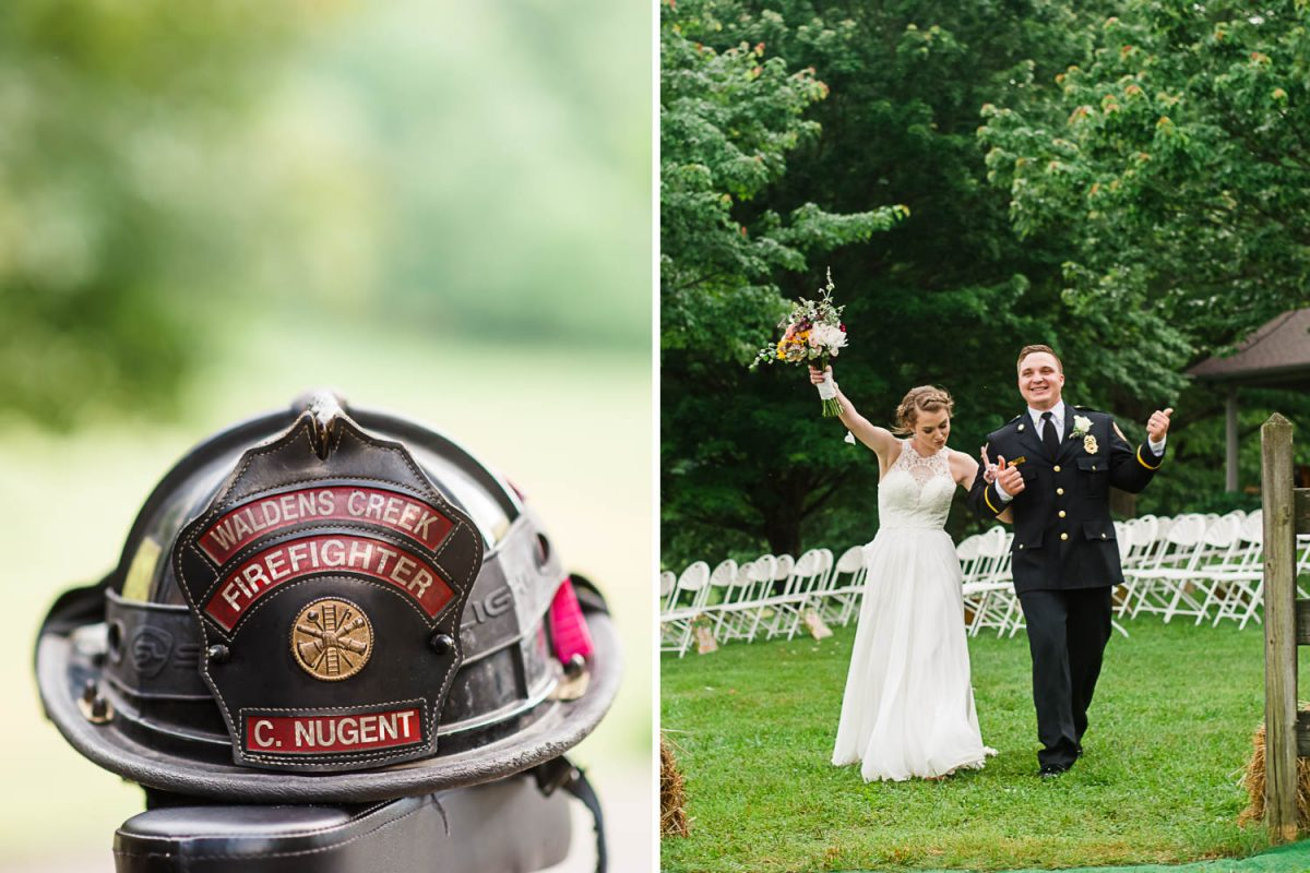 firefighter helmet. and bride and groom in fireman dress uniform