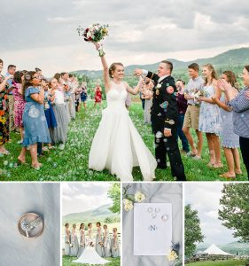 outdoor wedding exit with bubbles