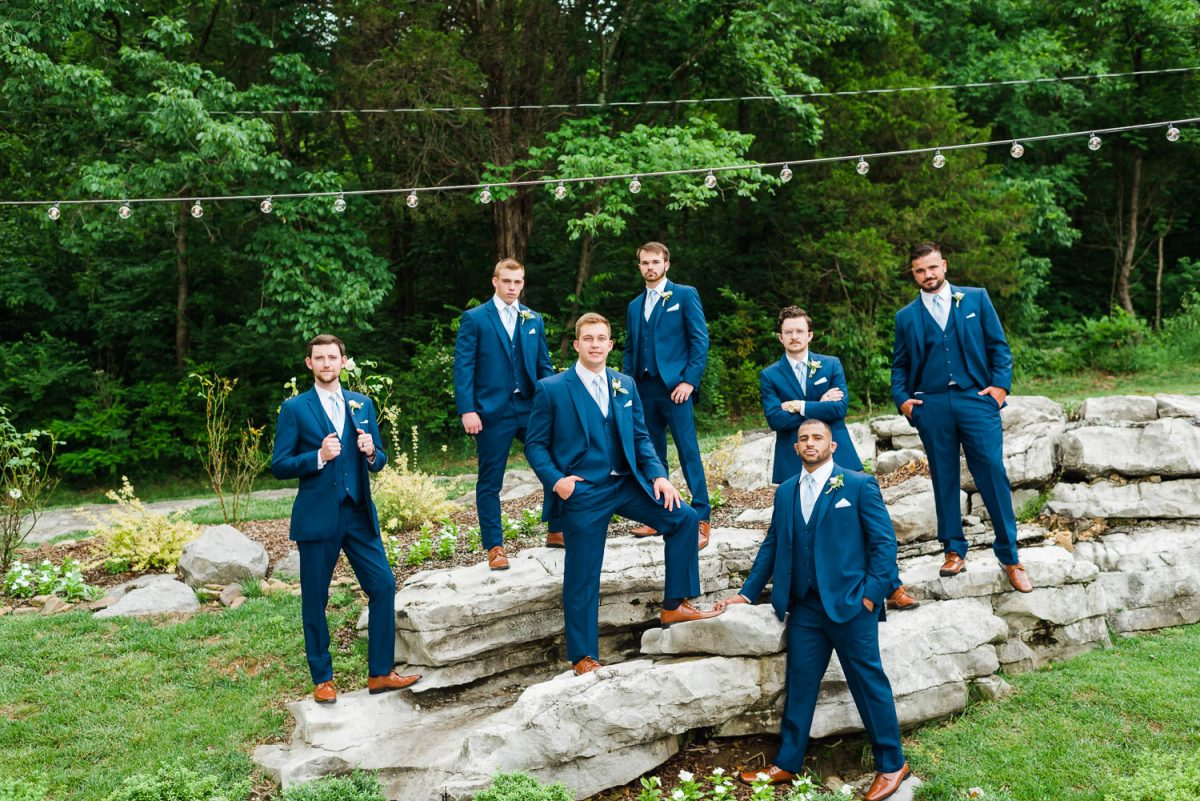 GROOMSMEN STANDING ON LIMESTONE ROCKS IN CHATTANOOGA